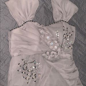 Dresses & Skirts - Gray Long dress with Flower Patterns